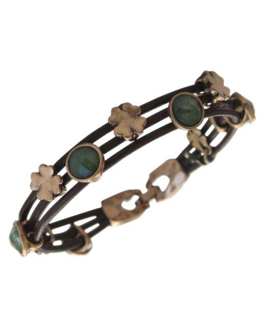 Lucky Brand - Metallic Bracelet, Gold-tone Jade Stone Woven Leather Bracelet - Lyst