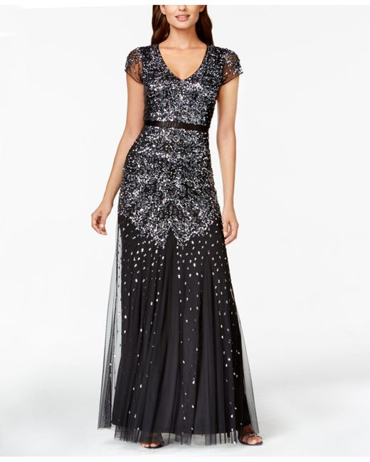 Adrianna Papell | Black Embellished Chiffon Gown | Lyst