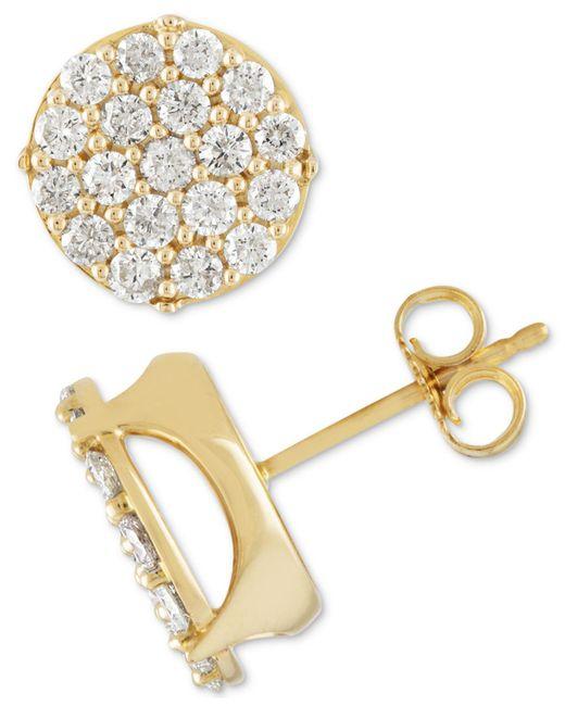 Macy's - Metallic Diamond Cluster Stud Earrings (1-1/2 Ct. T.w.) In 10k Gold - Lyst