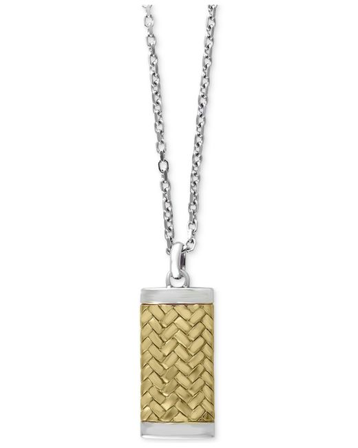 Effy Collection   Metallic Men's Two-tone Woven-look Dog Tag Pendant Necklace In Sterling Silver And 18k Gold-plated Sterling Silver for Men   Lyst