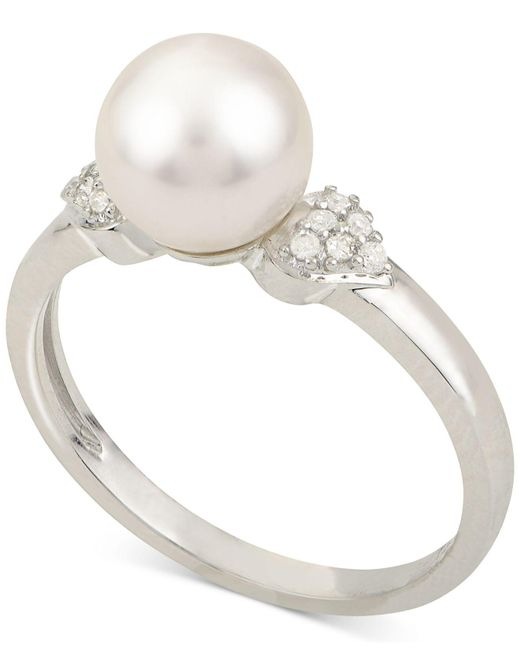 Macy's - Cultured Akoya Pearl (7-1/2mm) & Diamond Accent Ring In 14k White Gold - Lyst