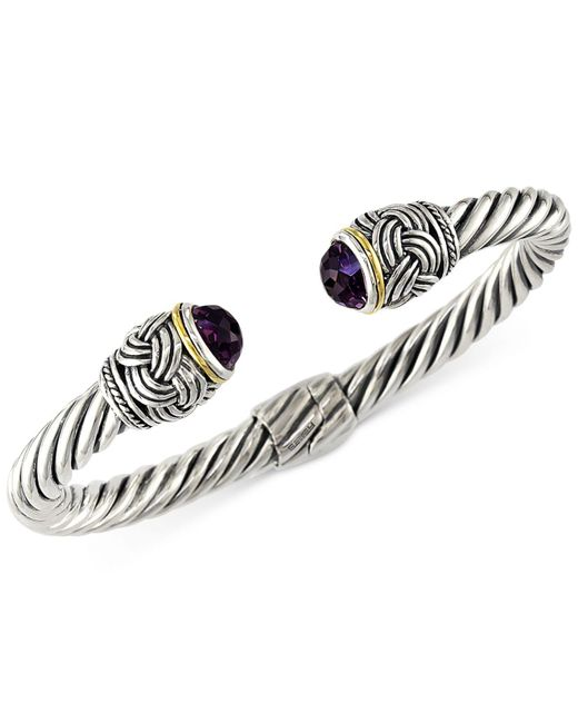 Effy Collection - Metallic Amethyst Hinge Bangle Bracelet In 18k Gold And Sterling Silver (4-9/10 Ct. T.w.) - Lyst