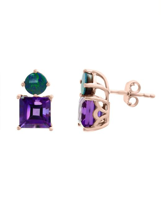 Effy Collection - Multicolor Effy® Amethyst (3-3/8 Ct.t.w.) And Blue Opal (1-3/8 Ct. T.w.) Earrings In 14k Rose Gold - Lyst