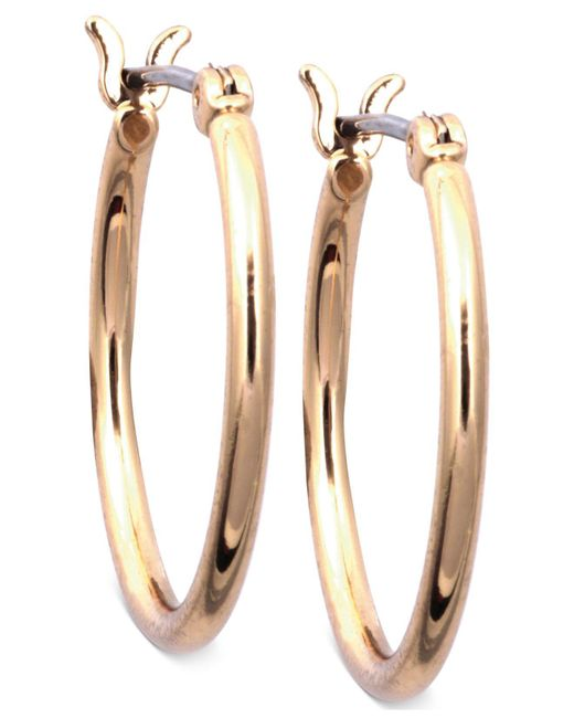 Nine West | Metallic Earrings, Gold-tone Small Tube Hoop Earrings | Lyst