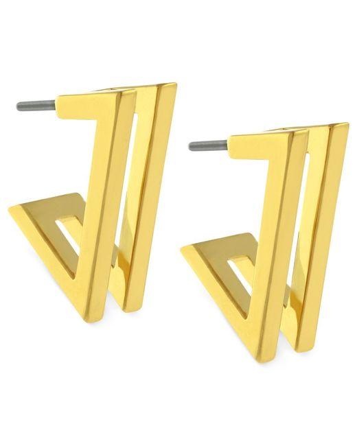 Vince Camuto   Metallic Earrings, Gold-tone Double V Hoop Earrings   Lyst