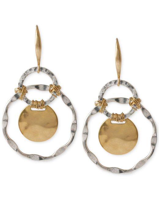 Robert Lee Morris | Metallic Two-tone Wire-wrapped Orbital Circle Drop Earrings | Lyst