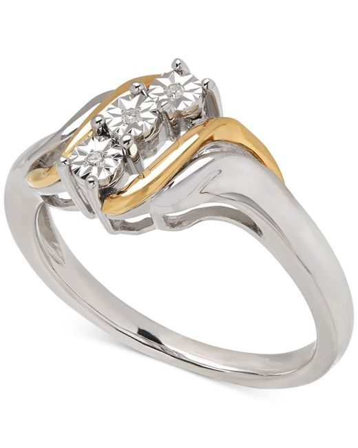 Macy's | Metallic Diamond Accent Ring In 14k Gold And Sterling Silver | Lyst