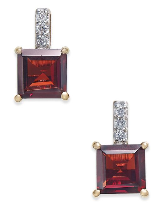 Macy's | Metallic Rhodolite Garnet (2-9/10 Ct. T.w.) & Diamond Accent Drop Earrings In 14k Gold | Lyst