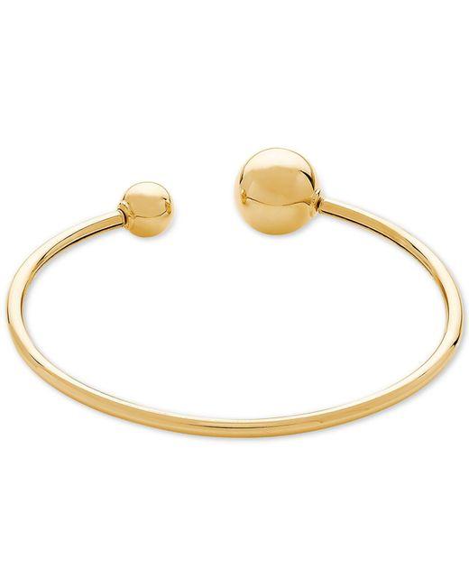 Macy's - Metallic Polished Bead Cuff Bracelet In 14k Gold - Lyst