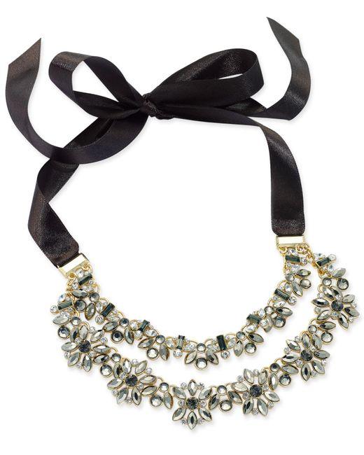 INC International Concepts | Metallic Hematite-tone Crystal Cluster Black Ribbon Choker Necklace | Lyst