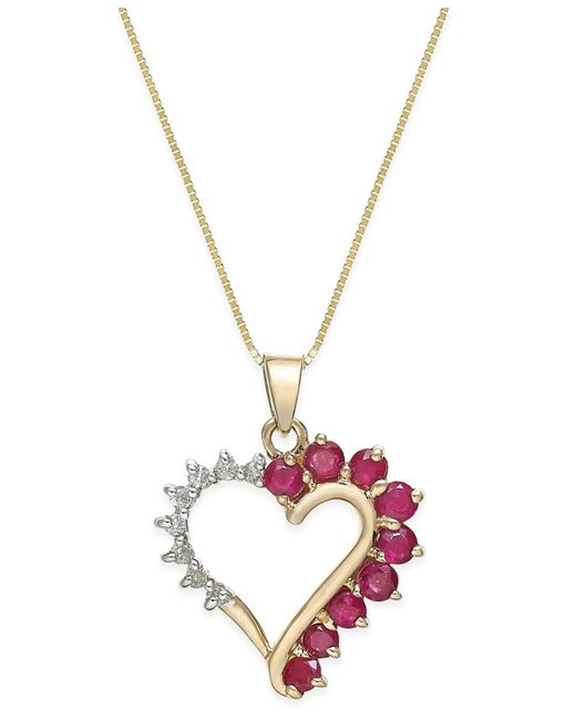 Lyst macys ruby 45 ct tw and diamond accent heart pendant macys red ruby 45 ct tw and diamond accent heart aloadofball Image collections