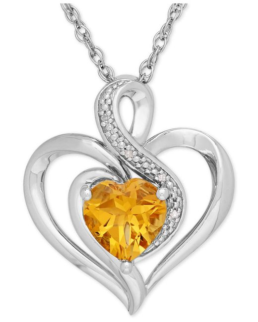 Macy's - Yellow Citrine (1-1/10 Ct. T.w.) And Diamond Accent Heart Pendant Necklace In Sterling Silver - Lyst