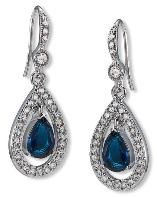Carolee - Blue Earrings, Silver-tone Pave Stone Drop Earrings - Lyst