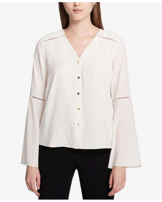 CALVIN KLEIN 205W39NYC - Multicolor Bell-sleeve Blouse - Lyst