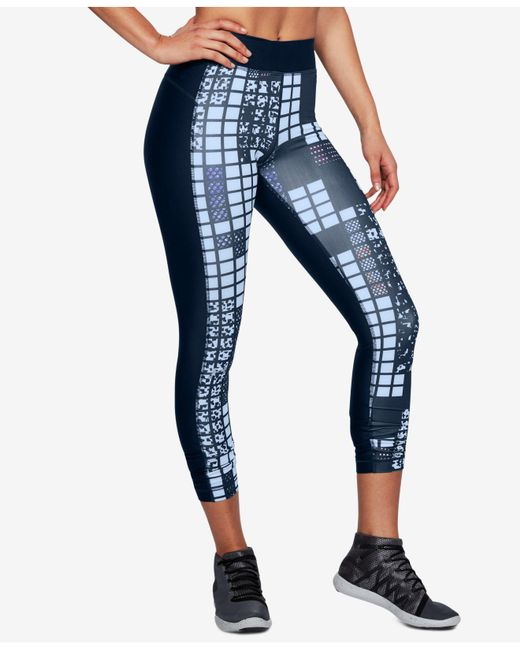 Under Armour - Blue Heatgear® Printed Compression Leggings - Lyst