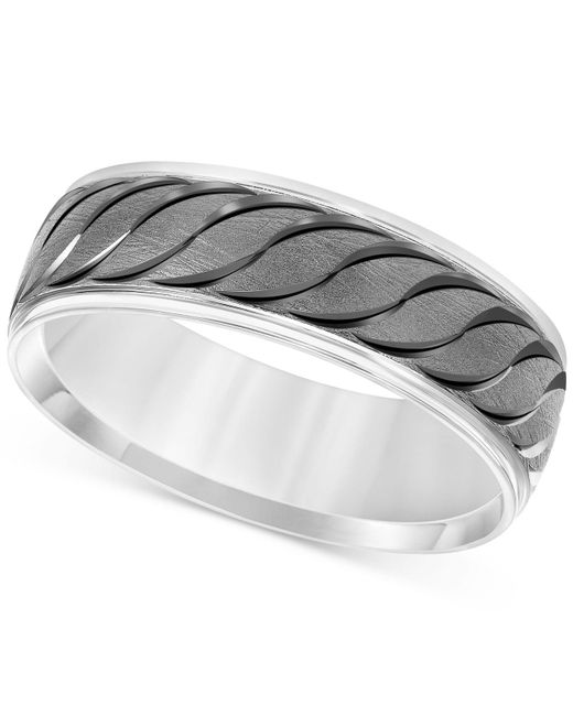 Macy's - Multicolor Engraved Scalloped Band In 14k White Gold - Lyst