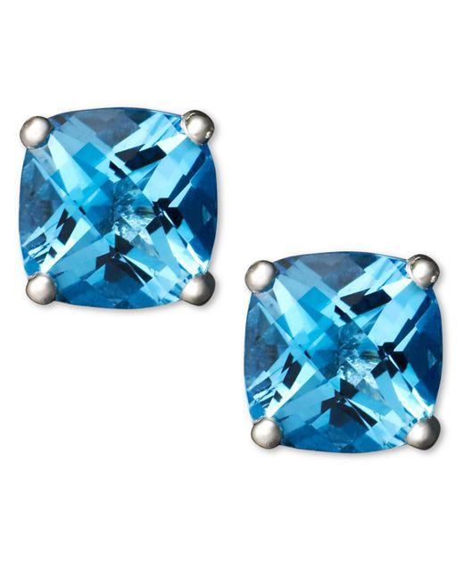 Macy's | 14k White Gold Earrings, Blue Topaz Cushion Studs | Lyst