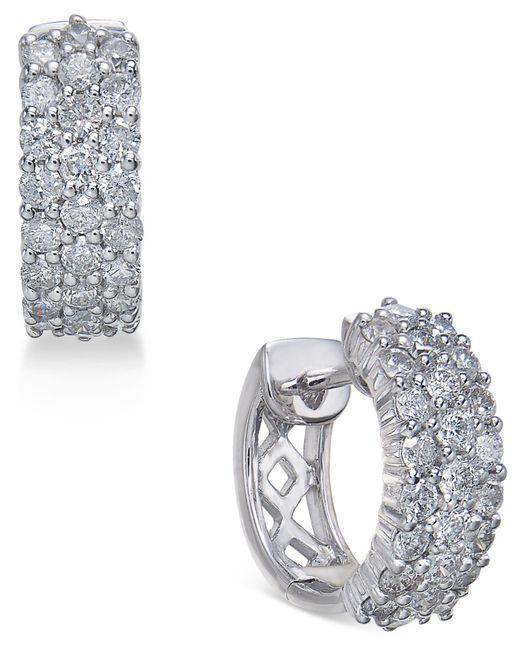 Macy's - Metallic Diamond Hoop Earrings (1 Ct. T.w.) In 14k White Gold - Lyst