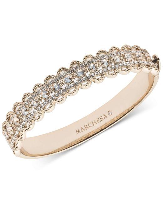 Marchesa - Metallic Gold-tone Crystal Filigree Bangle Bracelet - Lyst