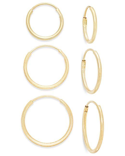 Macy's | Metallic Polished Hoop Earring Set Ion 10k Gold | Lyst