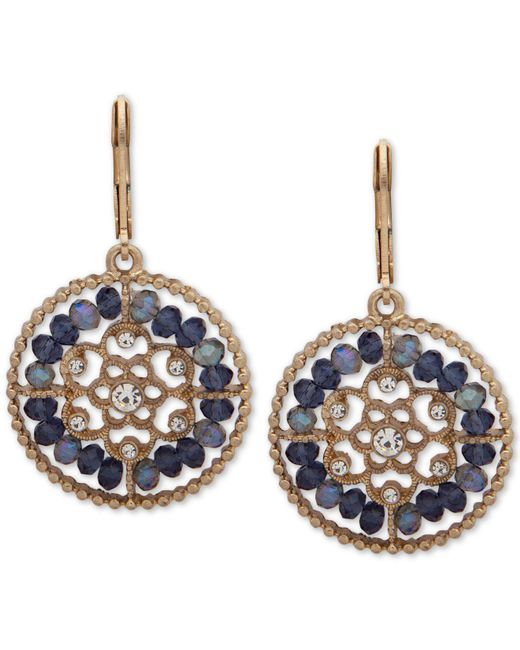 Lonna & Lilly - Blue Gold-tone Crystal & Bead Openwork Drop Earrings - Lyst