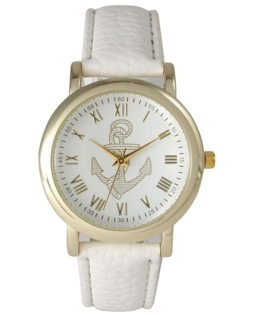 Olivia Pratt - White Anchor Leather Strap Watch - Lyst