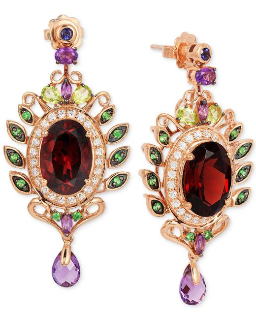 Le Vian - Multicolor Oval-cut Garnet (10 Ct. T.w.) And Multistone (3-5/8 Ct. T.w.) Drop Earrings In 14k Rose Gold - Lyst