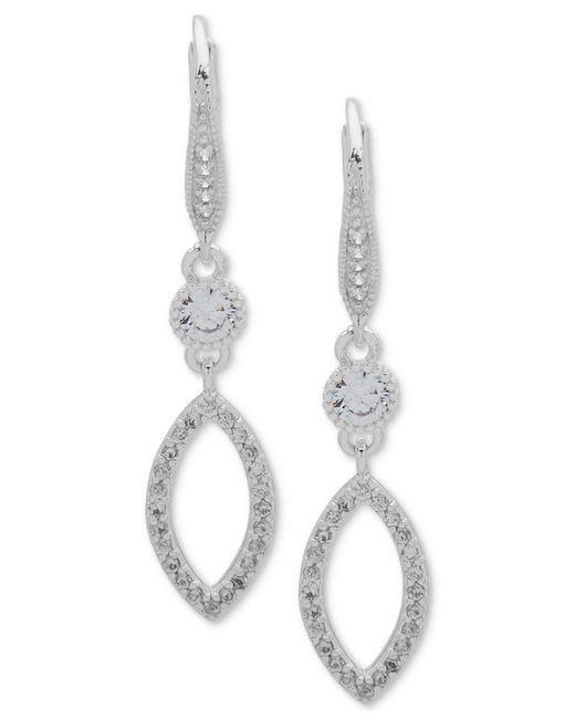 Anne Klein - Metallic Crystal & Pavé Navette Drop Earrings - Lyst