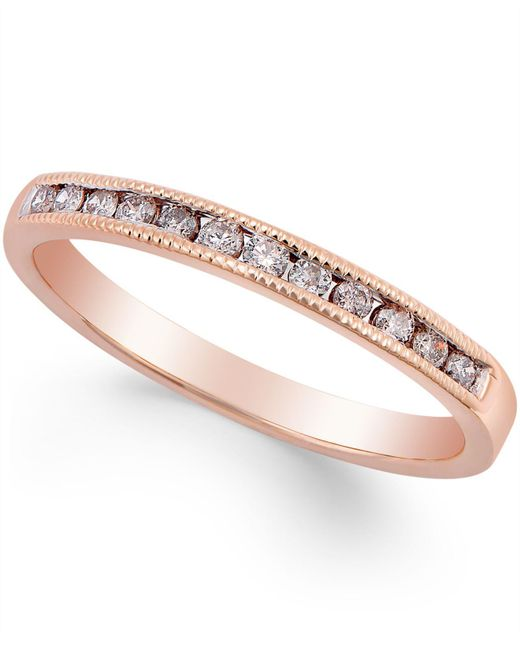 Macy's - Metallic Diamond Band Ring (1/5 Ct. T.w.) In 10k Rose Gold - Lyst