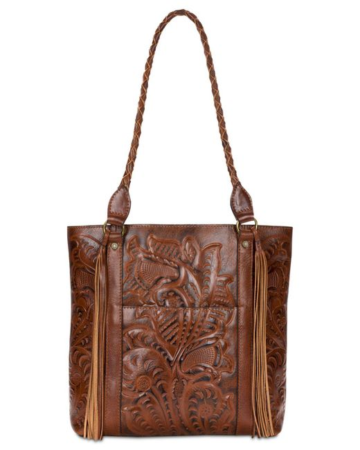 Patricia Nash - Brown Burnished Tooled Rena Tote - Lyst