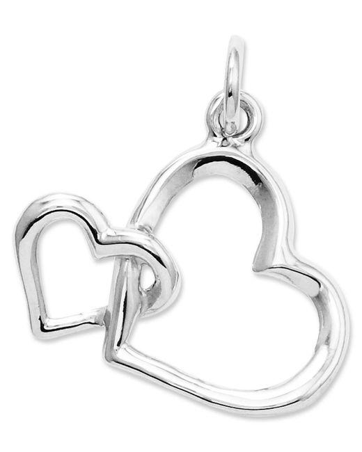 Macy's - 14k White Gold Charm, Double Heart Charm - Lyst