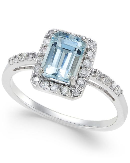 Macy's | Blue Aquamarine (1 Ct. T.w.) And Diamond (1/4 Ct. T.w.) Ring In 14k White Gold | Lyst