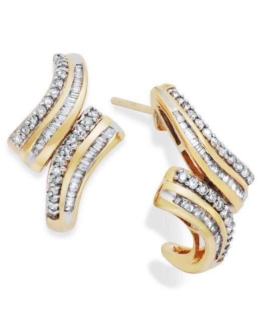 Wrapped in Love - Metallic Diamond Twist Hoop Earrings In 10k Gold (1/2 Ct. T.w.) - Lyst