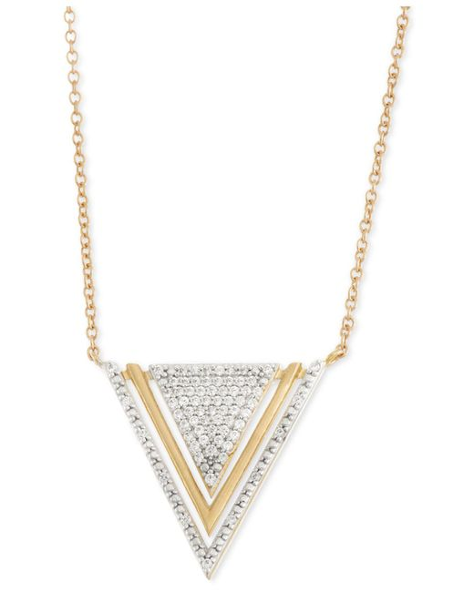Wrapped in Love - Metallic Diamond Triangle Pendant Necklace (1/5 Ct. T.w.) In 10k Gold - Lyst