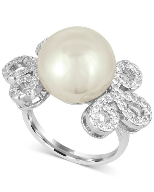 Majorica | White Sterling Silver Imitation Pearl And Pavé Ring | Lyst