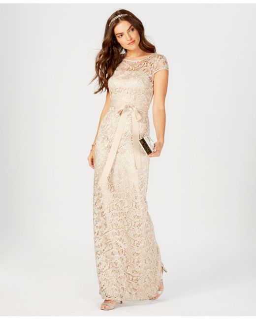 Lyst - Adrianna Papell Lace Cap-Sleeve Gown in Natural
