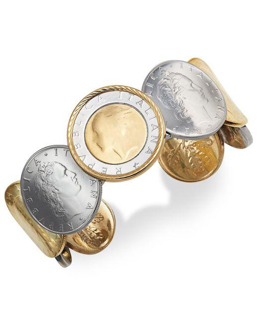 Macy's Metallic Lira Coin Cuff Bracelet In 14k Gold Vermeil And Sterling Silver