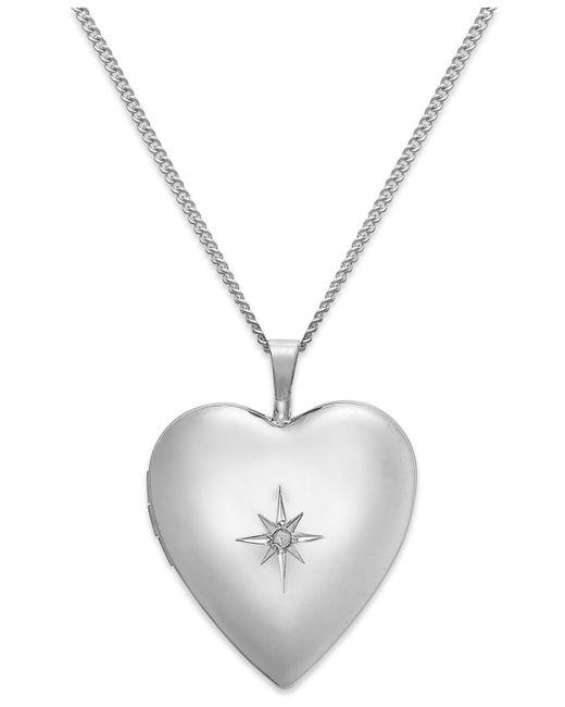 Macy's | Metallic Diamond Accent Starburst Heart Locket Necklace In Sterling Silver | Lyst