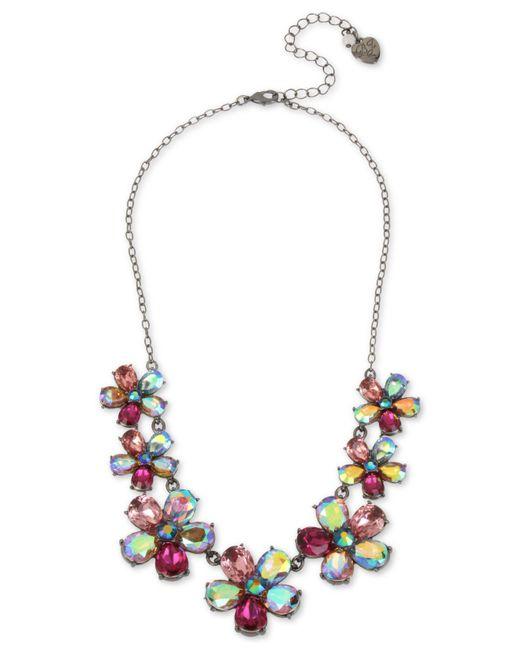 "Betsey Johnson - Multicolor Hematite-tone Crystal Flower Statement Necklace, 16"" + 3"" Extender - Lyst"