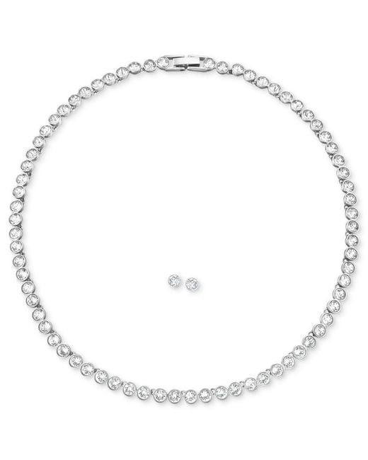 "Swarovski | Metallic Jewelry Set, Rhodium-plated Crystal Stud Earrings And 15"" Collar Necklace | Lyst"
