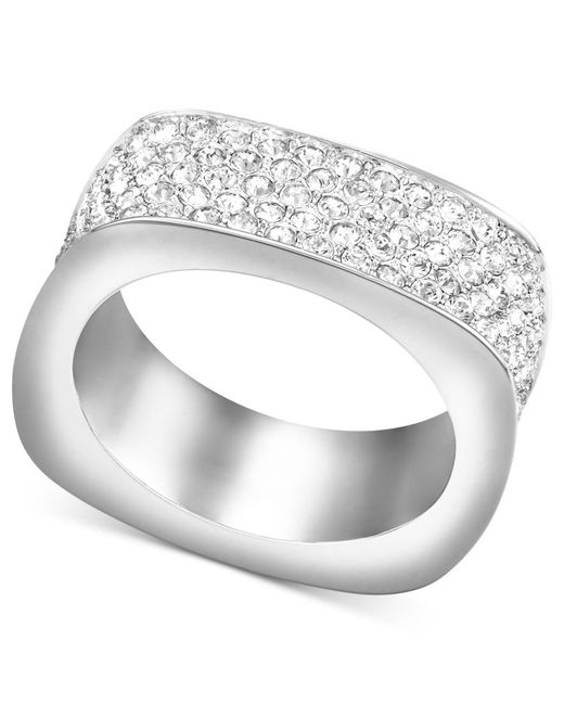 Swarovski | Metallic Ring, Rhodium-plated Pave Crystal Square Ring | Lyst