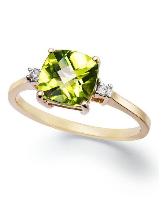 Macy's | Metallic 14k Gold Ring, Cushion-cut Peridot (1-5/8 Ct. T.w.) And Diamond Accent Ring | Lyst