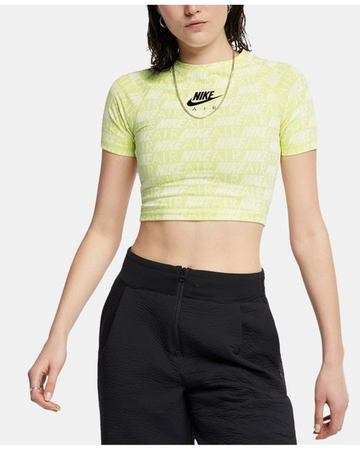 cfbe16345fd48 Nike - Green Air Logo-print Cropped T-shirt - Lyst ...