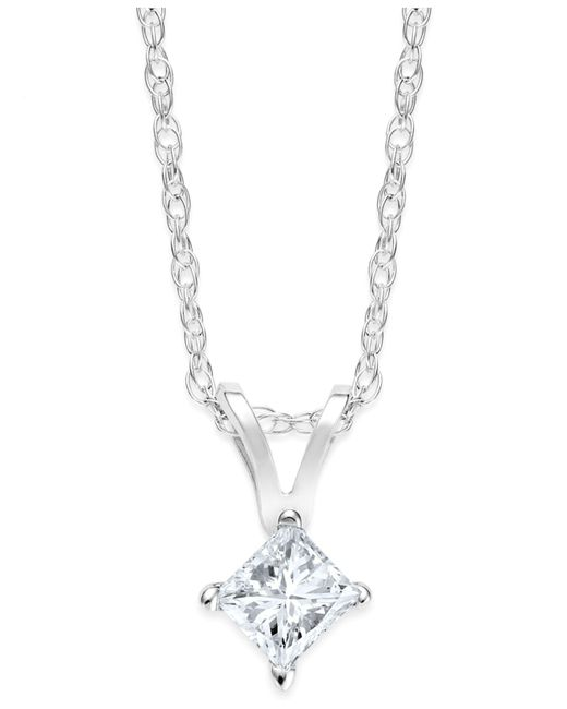 Macy's | Metallic Princess-cut Diamond Pendant Necklace In 10k Yellow Or White Gold (1/4 Ct. T.w.) | Lyst