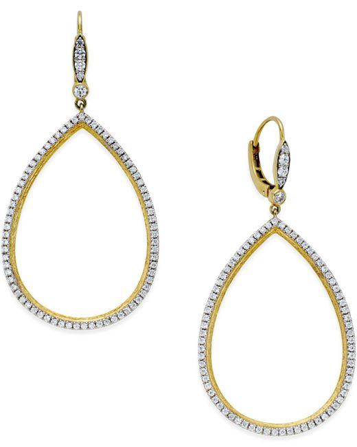 Macy's | Metallic Diamond Openwork Drop Earrings (7/8 Ct. T.w.) In 14k Gold | Lyst
