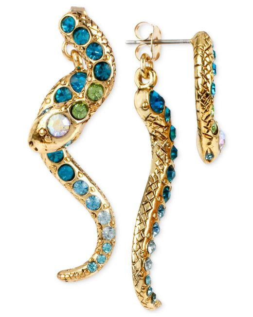 Betsey Johnson - Purple Gold-tone Pavé Crystal Snake Front And Back Earrings - Lyst