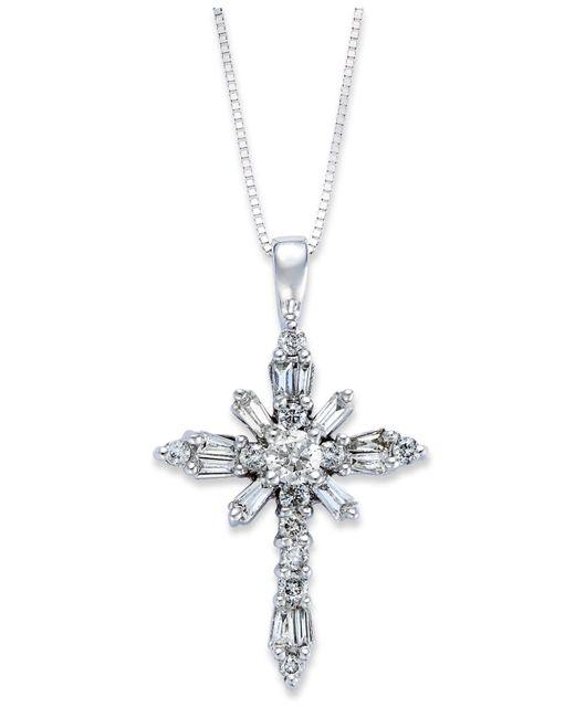 Macy's | Diamond Baguette Cross Pendant Necklace In 14k White Gold (1/2 Ct. T.w.) | Lyst