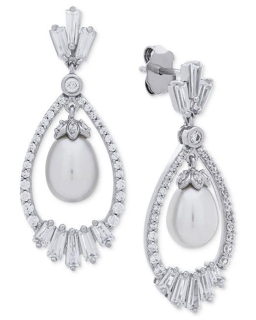 Arabella - Metallic Cultured Freshwater Pearl (7mm) & Swarovski Zirconia Orbital Drop Earrings In Sterling Silver - Lyst