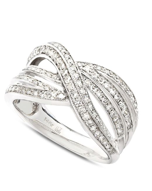 Macy's - Diamond Crossover Ring In 14k White Gold (1/2 Ct. T.w.) - Lyst