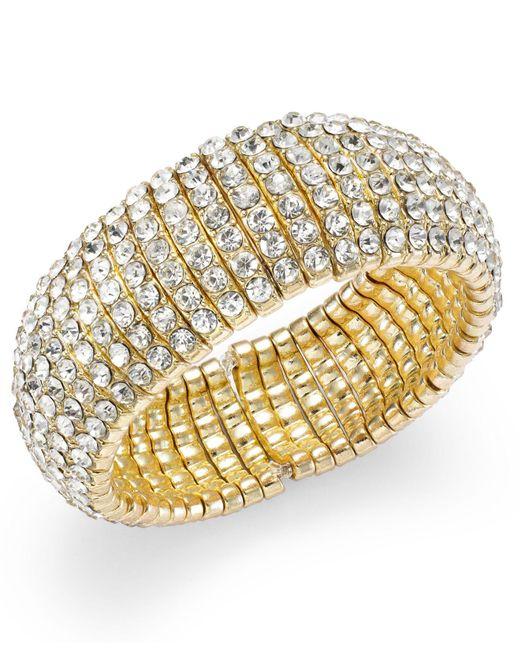 INC International Concepts | Metallic Gold-tone Crystal Stone Stretch Bracelet | Lyst